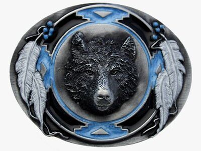 Wolf Head and Feathers Belt Buckle In a Gift Box + Display Stand.