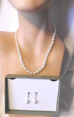 New Honora Sterling Silver Freshwater Pearl Necklace And Earrings Stunning