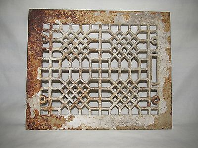 Antique Patterned Art Deco Style Heat Vent Grille Register Cover, Salvage