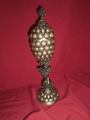 """Judaica Silver Standing Pineapple Cup 12 1/2"""" tall Flowers Floral"""