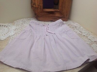 Girl's pale pink needlecord gathered twirly skirt age 5-6 H&M good condition