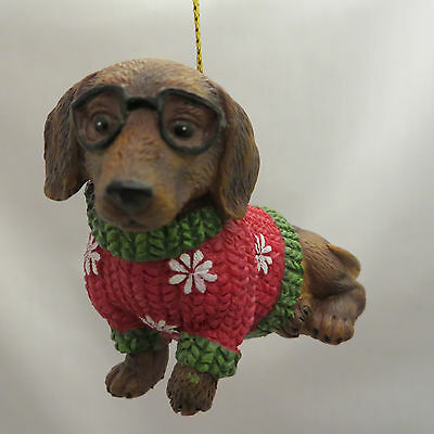 doxie dachshund puppy dog glasses christmas sweater ornament new holiday gift