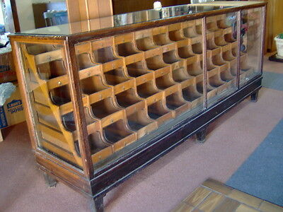 Antique OAK Wood & Glass Mercantile Store Showcase 8' long Display, 55 Drawers