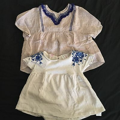 Modern Zara Girls Tops Blouse 2x Bundle 2-3 Years