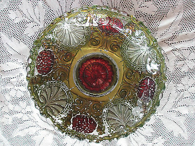 Vintage  Glass Antique fruit Bowl,reverse hand painted pressed glass early 1900s