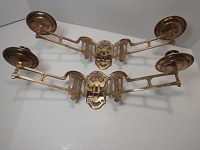 2 Antique Art Nouveau Solid Bronze Double Swing Arm Piano Wall Candle Holders