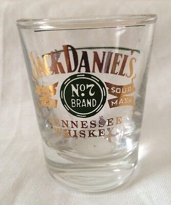 Vintage Jack Daniels Gold and Green Shot Glass Tennessee Whiskey
