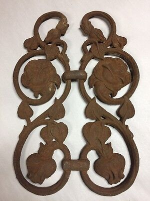 Antique Cast Iron Architectural Salvage Ornate Gate Piece Garden ROSE (B8)