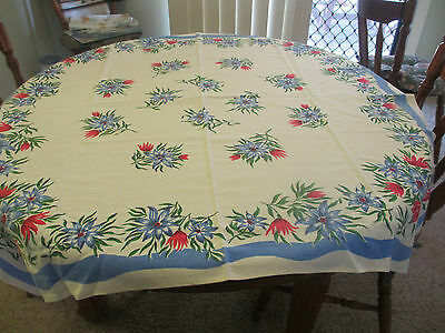 Vintage Blue floral Tablecloth very good condition lovely