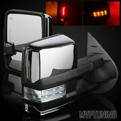 14-17 GMC Sierra 1500 Chrome Power/Heated Defrost Tow Mirrors/Clear Lens Signal
