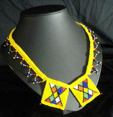 African Zulu beaded jewellery yellow love letters necklace hand made statement