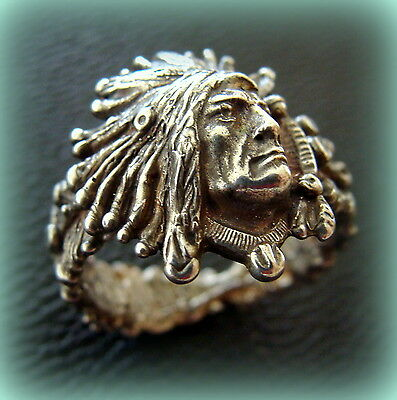 INDIAN Head Chief Ring Jewelry - STOINOFF Design - Native American Indian style