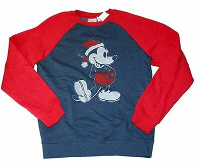 NWOT Disney Graphic Tee Kids Sweatshirt Mickey Mouse with Christmas Hat Blue