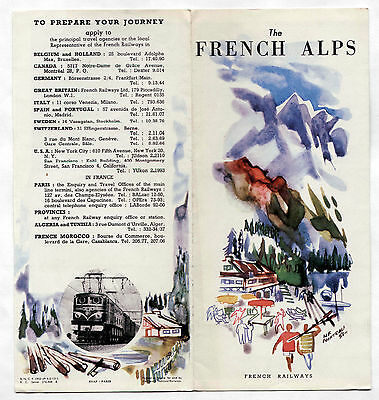 Vintage brochure FRANCE French National Railroad w/ MAP 1951 THE FRENCH ALPS