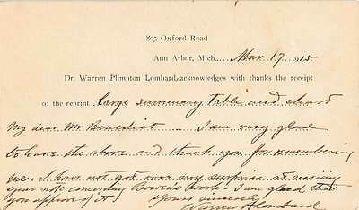 Postcard - Written Message from APS Pres. Warren Lombard to F. Benedict - 1915