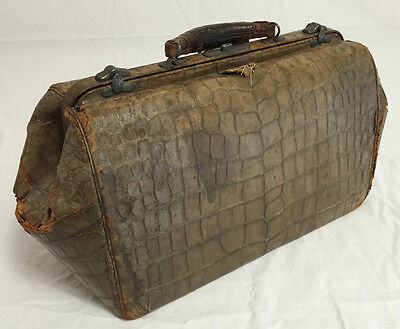 Antique Tiffany & Co Sterling Mounts Alligator Doctor's Bag Purse AS IS