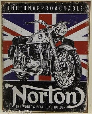 NORTON Motorcycle's metal sign the unapproachable British flag aged look 1953