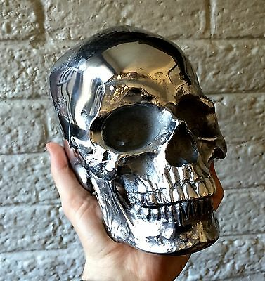 LIFE SIZE METAL SKULL - Human Skull Cast In SOLID METAL - Polished - RARE - MA