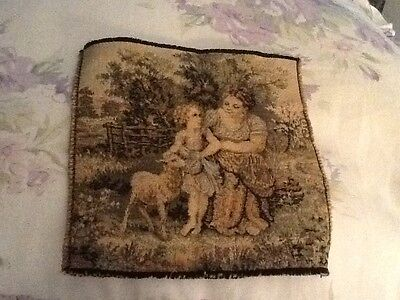 "Small Vintage 6"" X 6"" TAPESTRY Square Made in FRANCE"