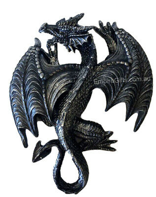 Gothic Sleeping Dragon Figurine Garden Hanging Wall Plaque - Gift Boxed