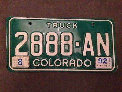 Colorado Co 1992 Truck License Plate Tag 2888-An