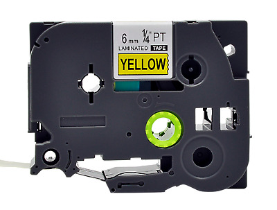 """6PK Black on Yellow Label Tape  9mm 0.35/"""" for Brother TZ-621 PT1010 PT2400"""