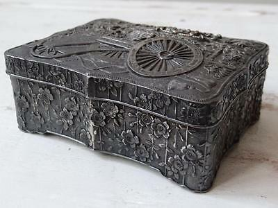 Antique Silver Vintage Chest Box Jewellery Ornate Metal Box Flower Wagon Trinket