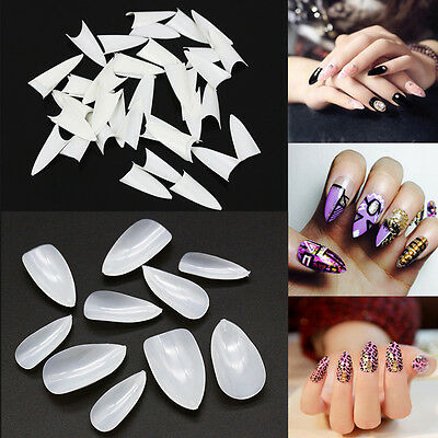 500x Natural/White Artificial Nail Art Tips Oval Pointy False Full Acrylic Cover
