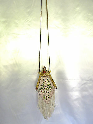 Antique? Vintage Beaded 1920's Style Evening Clatch/Bag with Brass ornate Frame
