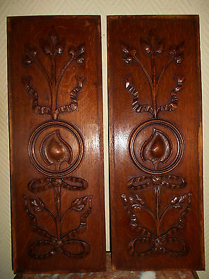 Antique Pair French Carved Architectural Panel Oak Decor Ribbons
