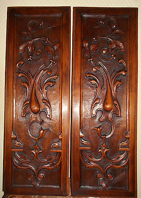 Antique Pair French Carved Architectural Panel Walnut