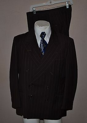 Vintage 1940's Brown Bold Stripe Double Breasted Wool 2-PC Suit 40/41R 34x28