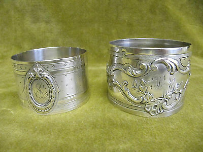 early 20th c french sterling silver 2 napkin rings rococo st & Louis XVI st