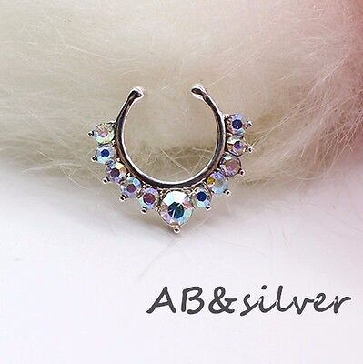 Silver AB Crystal Fake Faux Septum Non piercing Nose Ring Body Jewelry