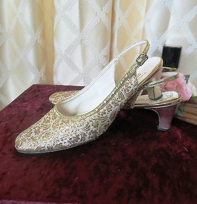 60's True Vtg Mod Gold Metallic Thread  Fabric Shoes