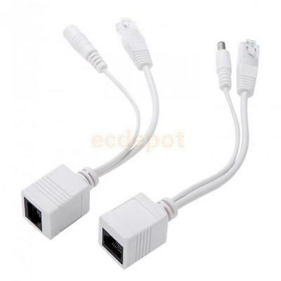 Power over Ethernet PoE Adapter Injector + Splitter Cat5 Cable Kit 5.5x2.1mm