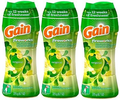 3x Gain Fireworks Original In-Wash Scent Laundry Booster Deodorizer 9.7 Oz Each