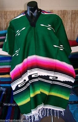 New Mexican green unisex poncho Aztec style party supplies Made In Mexico