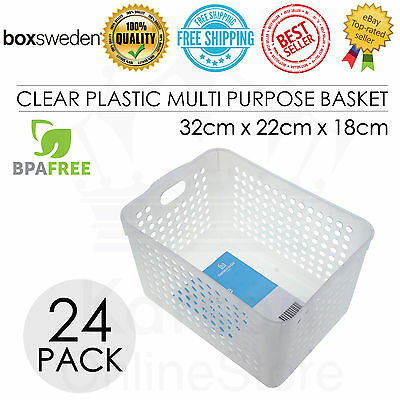 24 x Rectangle Plastic Clear Multi Purpose Basket 32*22*18cm Storage Office BULK