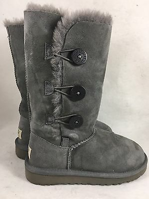 UGG AUSTRALIA BAILEY BUTTON TRIPLET Triple Gray Grey 1962 K Kids  Girls womens