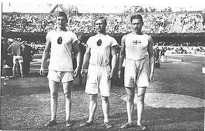 1912 Stockholm Olympics Offical Postcard ~ Discus Throw Winners