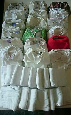 33 Newborn baby cloth reusable nappies, nappy wraps, liners, bucket whole kit