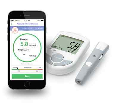 Bluetooth Glucose/Cholesterol 2 in1 Meter monitor 10 Test Strips+ twist Lancets