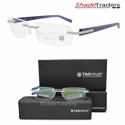 Tag Heuer Trends Rimless Optical Glasses Frame Brushed Palladium Blue 8104 011