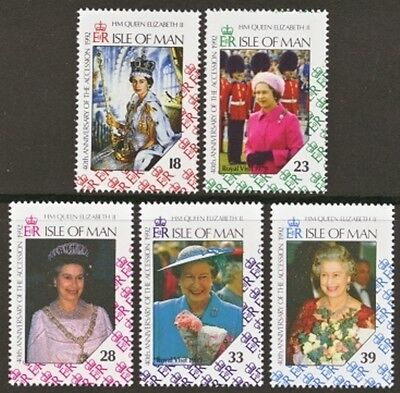 Isle of Man MNH Scott 494-498, 1992 Anniversary of Queen's Accession