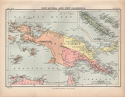 1880 ca ANTIQUE MAP-NEW GUINEA AND NEW CALEDONIA