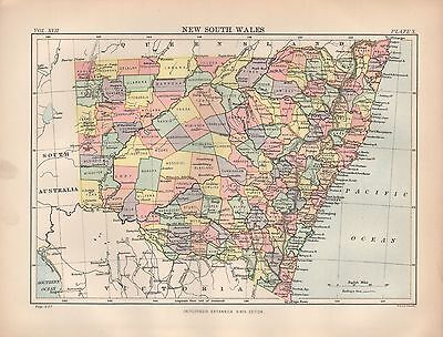 1880 ca ANTIQUE MAP-AUSTRALIA, NEW SOUTH WALES