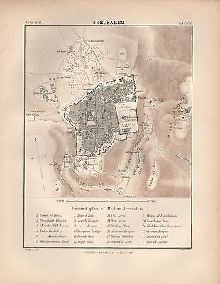 1880 ca ANTIQUE MAP-JERUSALEM, ENVIRONS AND CITY PLAN WITH KEY TO BUILDINGS