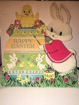Vintage Die Cut Easter Rabbit And Chicks Window Decoration 2 Sided 1970s