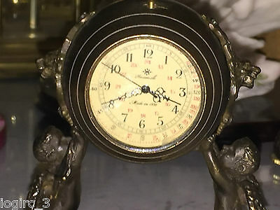 Antique Huameile 19th Century Bronze Figural Carriage Clock